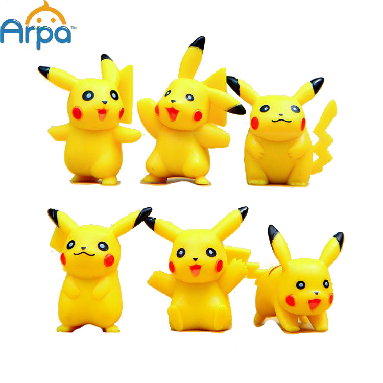 6pcs Six Styles Pikachu Mini Action Figures Doll Collections Toys(China (Mainland))