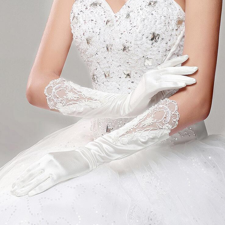 Lace Wedding Dress Accessories : New arrival bridal gloves pure white long winter