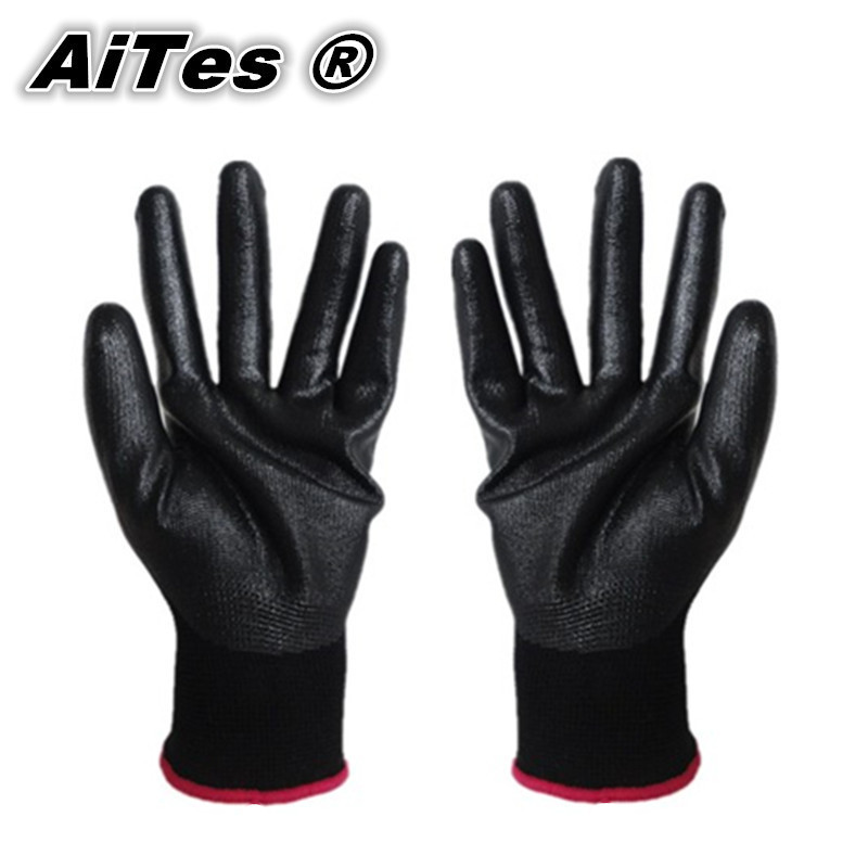 Pack of 24pcs/12pairs 13 gauge black nylon nitrile dipping gloves/nitrile working glove/Nylon knitted nitrile Palm gloves(China (Mainland))