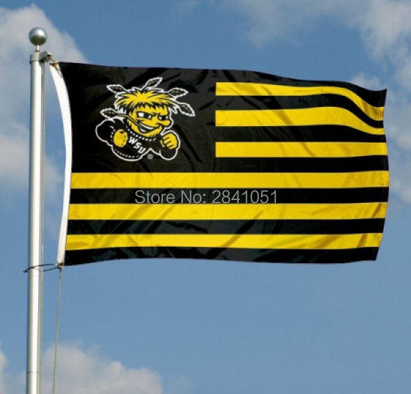 Wichita State Nation Team College American Outdoor Indoor Football College NCAA Flag 3X5 Custom Any Flag(China (Mainland))
