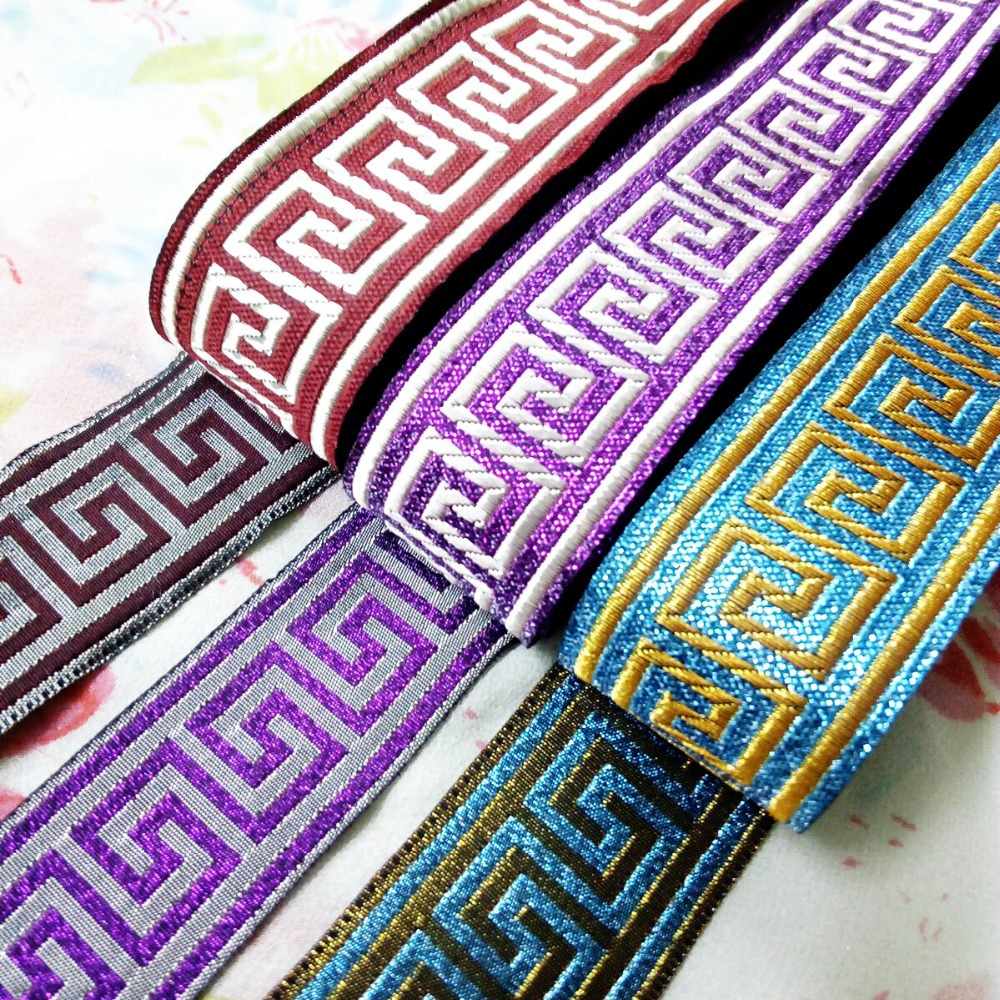 3.3cm 33mm 1-3/8' quality thick brown purple turquoise filigree trim Greek Key National Jacquard Ribbon Embroidery Woven Webbing(China (Mainland))