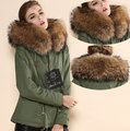 Women Winter Warm brown real rabbit Fur Gorgeous Army Green Coat Free Shipping Latest New Arrival