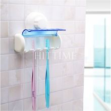 Practical Plastic Toothbrush Spinbrush Holder Suction Stand Home Bathroom Accessory 5 Set #58453(China (Mainland))