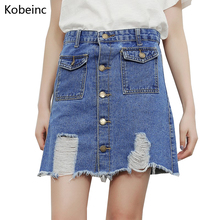 Buy Kobeinc Hole Single Breasted Denim Skirts 2017 Summer High Waist Women Skirt BF Wind Double Pockets Female Jeans Mini Jupe S~XL for $11.95 in AliExpress store