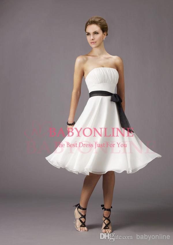 2015 Cheap Sexy Mini Short White Brown Chiffon Knee Length Strapless Bridesmaid Dresses Summer Spring Empire Dresses(China (Mainland))