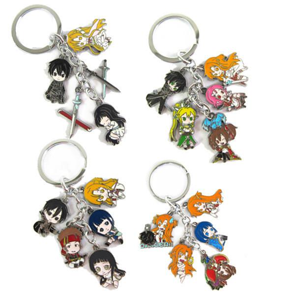 Anime Sword Art Online figure pendant keychain colored metal keyring Wholesale 10 pcs/lot<br><br>Aliexpress