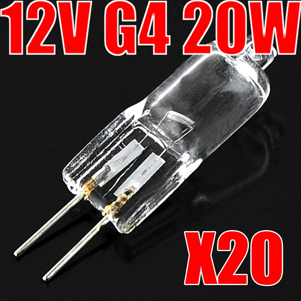 20pcs wholesale 12v 20w g4 base clear tungsten halogen jc type mini lamp light blubs high lumens - Ampoule g4 20w ...