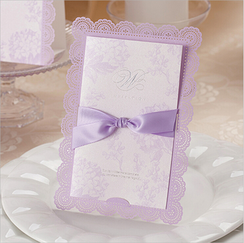 Inviting Card Lace Elegant Luxury Party Event Supplies Decoration Laser Cut Paper Flower Purple Romantic Wedding Invitation - Worldy Store store