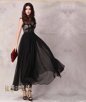2015 New Arrival A-line Lace Evening Dresses Lace Short Sleeve Sexy See through Long Party Prom Pageant black Gowns Hot