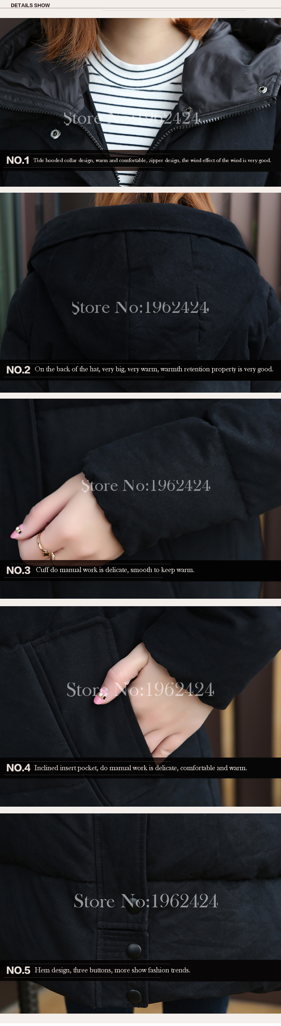 Brand HOT 2016 Winter new fashion women high quality Korean super loose hooded thick warm black cotton longer section Pike & XXL