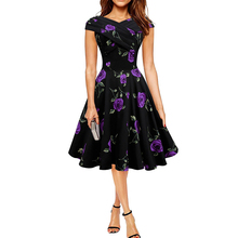 Womens Elegant 50s 60s Vintage Rose Retro Rockabilly Floral Sexy Party Cocktail Skater Wiggle Flare Swing Dress(China (Mainland))
