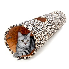 Hot Sale Pet Product Cat Tunnel Leopard Print Crinkly Cat Fun 2 Holes Long Tunnel Kitten Toys Pet Playing Living Necessary(China (Mainland))