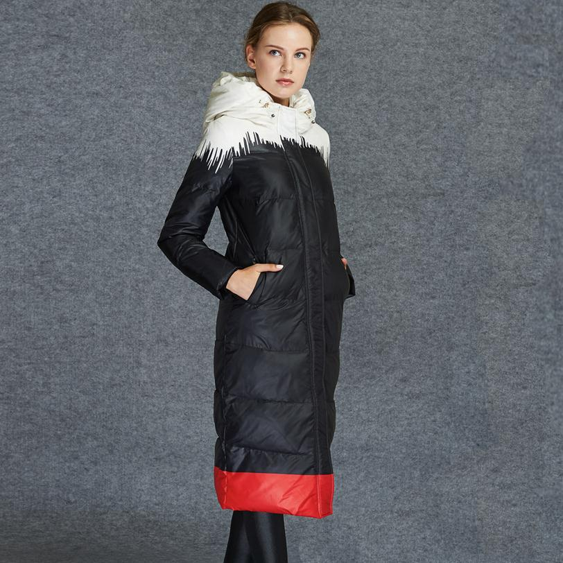 90% white duck down thicker hooded down &parkas jacket 2017 winter women's printing long parkas coat manufacturers outlet w987(China (Mainland))