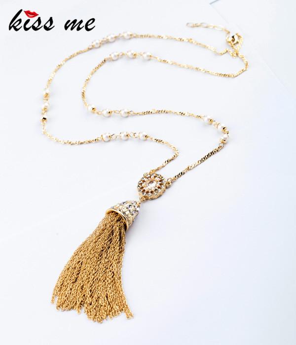 New Styles 2015 Fashion Jewelry Elegant Imitation Pearls Tassel Necklace Christmas Gifts