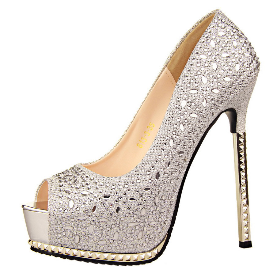 silver high heel shoes with rhinestones is heel. Black Bedroom Furniture Sets. Home Design Ideas
