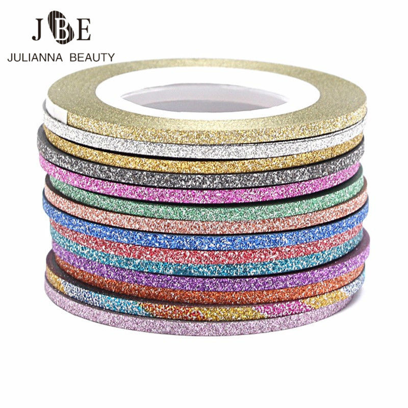 30 Rolls Gold/Silver Glitter Nail Art Striping Tape Line Sticker On Nails Art Decoration Multicolor Shining DIY Nail Tips 1mm/2m(China (Mainland))