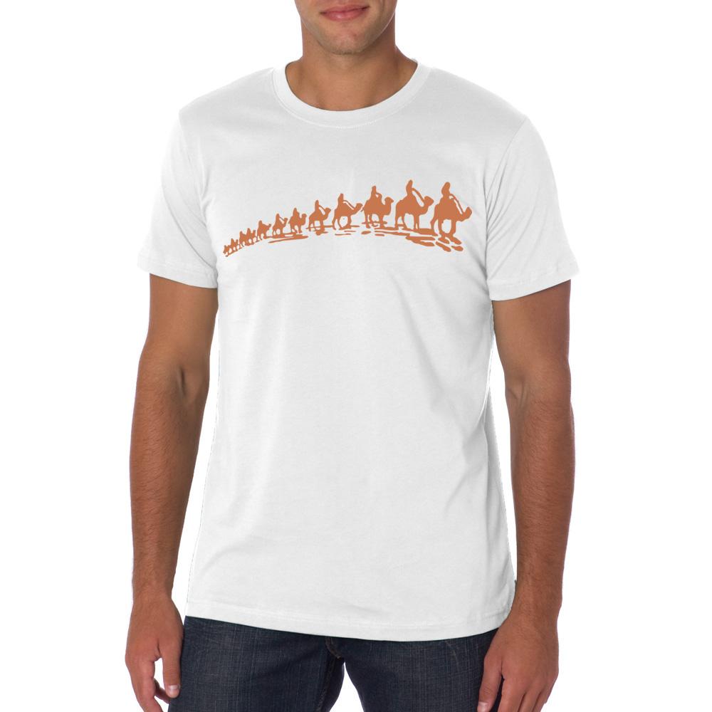 2016 Summer Mens T-shirt New Short Sleeve Mens A Row of Camel Animal Printed T-shirt New Design Cotton Short Sleeved Tops Tee(China (Mainland))