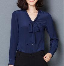 Blusa feminina de seda cetim com botões P-GGGG camisa casual branca preta dourada vermelha manga longa blusa top(China)