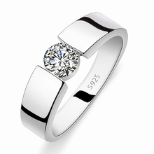 Do not fade 2016 new silver created diamond men wedding couple rings aneis jewelry fashion ring(China (Mainland))