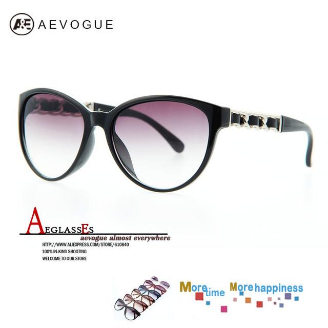 Aevogue кошачий глаз марка винтажный солнечные очки женщины очки очки цепь храм кожа отделка 20 шт. / lot AE0138