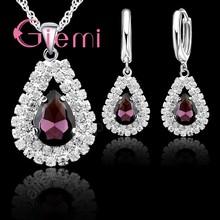 Air Drop Liontin Kalung Anting-Anting untuk Wanita Hadiah Berkilau 925 Sterling Silver 5A Kelas Austria Crystal Perhiasan Set(China)