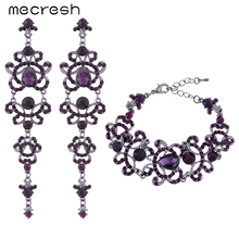 Mecresh Butterfly Shape Crystal Wedding Bridal Jewelry Sets Unique Style Purple Long Earrings Bracelets Sets EH168+SL029(China (Mainland))