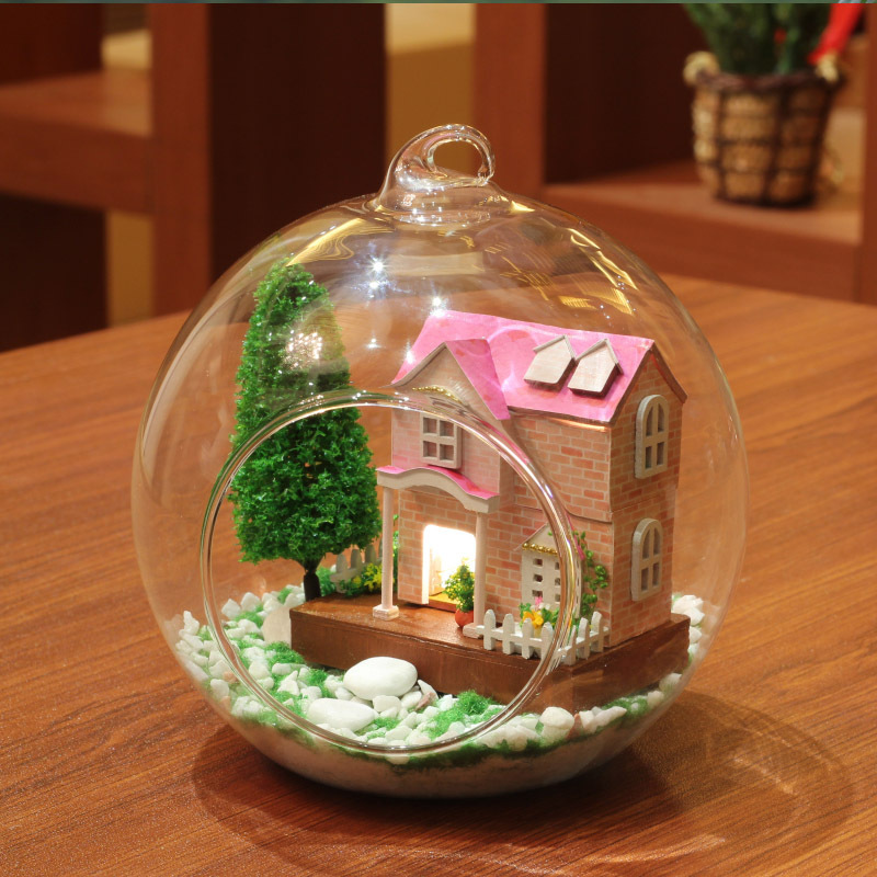 DIY Glass Ball Doll House Model Building Kits Wooden Mini Handmade Miniature Dollhouse Toy Birthday Gift -Pink Sweetheart(China (Mainland))