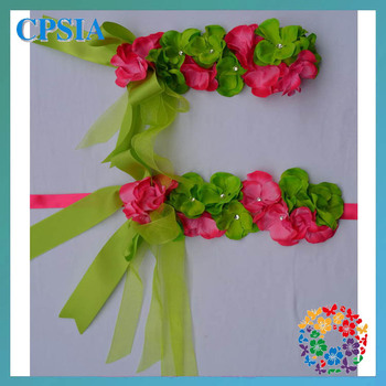 Stylish lace flower sash with elastic hair ties Wholesale Headband girls   24sets/lot (09)