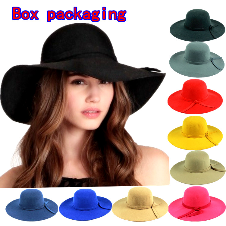 spring summer Brand Ladies Soft Wool Vintage Wide Brim Bowler Fedora Hat Floppy Cloche Hats For Women wholesale(China (Mainland))