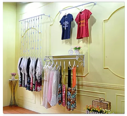Iron clothing rack on the wall hook wall hanger rings leaves clothing store display racks(China (Mainland))