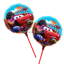 Hot 20 unids/lote badajo coches globos toy story 8.5 pulgadas coches ballon con palo para decoración de feliz cumpleaños dibujos animados balao
