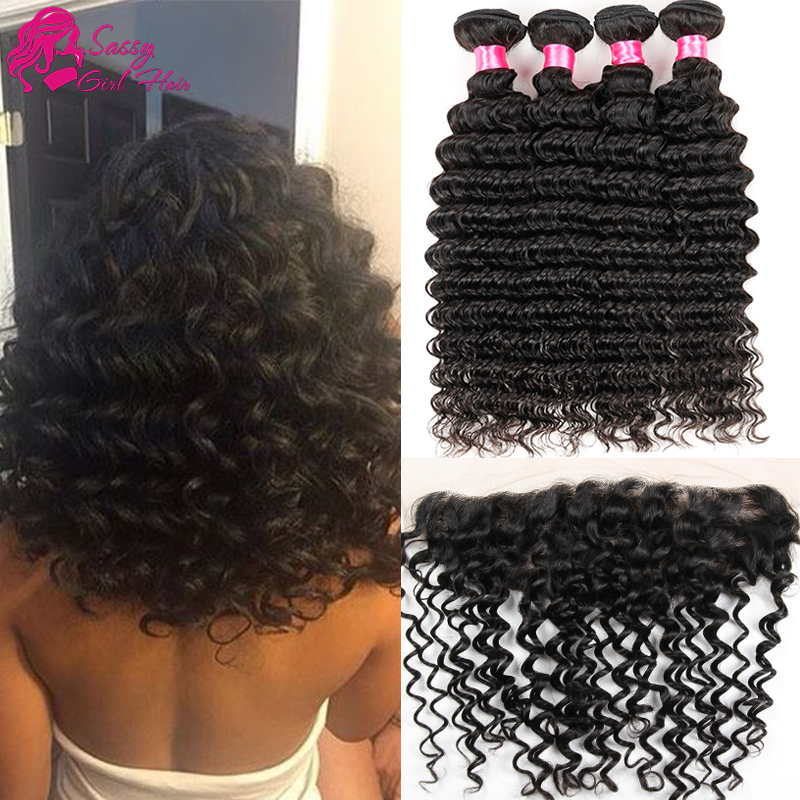 Queen Hair Peruvian Deep Wave With Closure Full Frontal Lace Closure 13x4 With Bundles Wet  Wavy Human Hair With Frontal Closure<br><br>Aliexpress