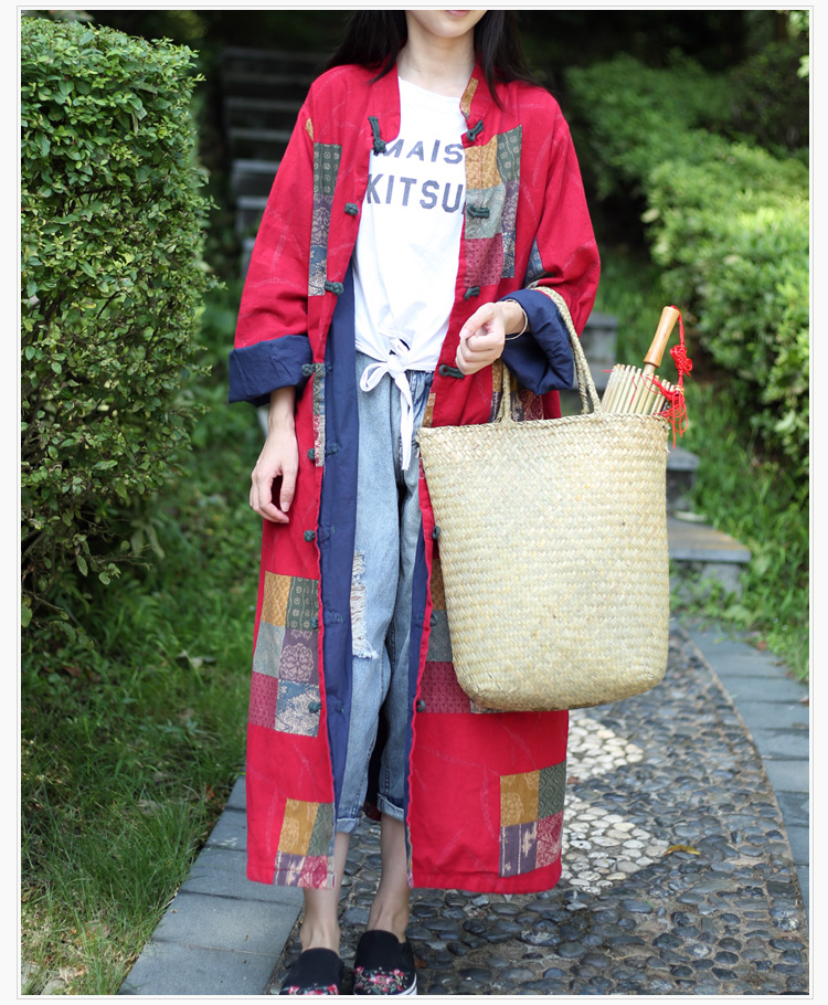 Скидки на Женщин Хлопка Пальто Куртки Старинные Осень Свободные Шить Плед Воротник Плиты Кнопки Белье Теплый Национальный Ветер Китайском Стиле