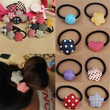 HOT Korean Cute Bow/Love/Heart/Striped Elastic Hair Ring Hair Rope Ties Ponytail Holder for Women Hair Accessories Free Shipping(China (Mainland))
