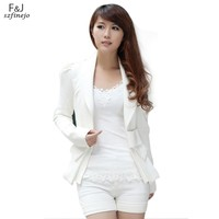 Fashion Women's Turn-down Collar Big Bowknot Career OL White Slim Suit Coats Jackets Outwear Tops Free Shipping 7327  25