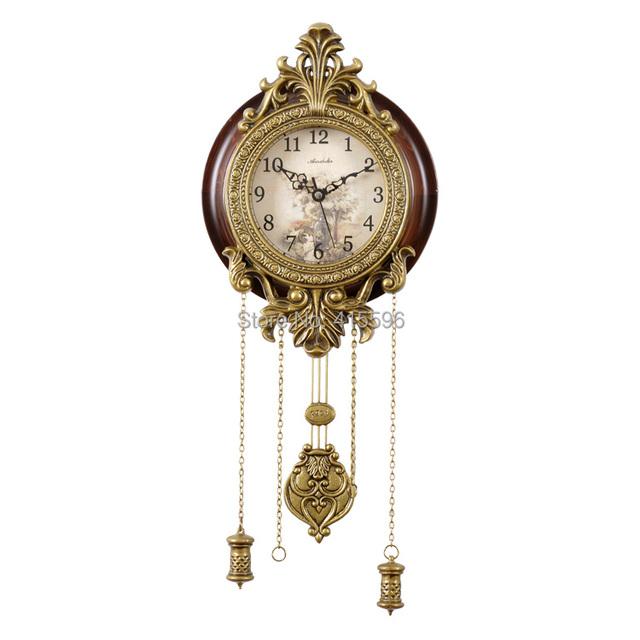 Metal Art Antique Solid Wooden Big Wall Clock Super Silent Movement Pendulum Clocks Home Decor