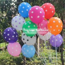 10pcs/lot High quality 12 inch Latex Polka dot printed balloons,3.2 gram 16 colors round bubble wedding party decoration balloon(China (Mainland))