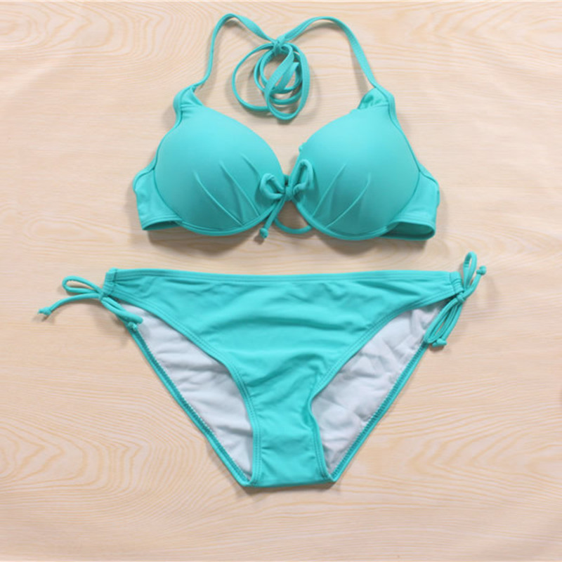 Hot Women's Swimwear Swimsuit Bikini Sets Padded Push Up Triangle Top Ties At Neck Ruched Cups Double String Bottom Beachwear(China (Mainland))