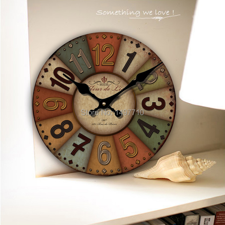 Free Shipping European Rural Countryside Retro Living Room Wall Clock Mute Mi