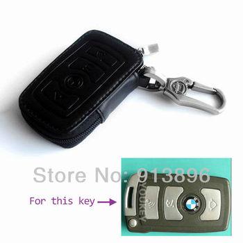 Leather car key case Fob cover For BMW series 7 car key holder shell key rings keychain wallet/bag Remote key