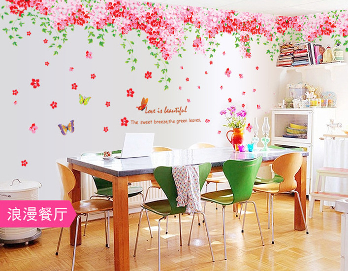 AY239AB romantic cherry butterfly wedding room sofa living room windows and removable wall stickers wholesale letters(China (Mainland))
