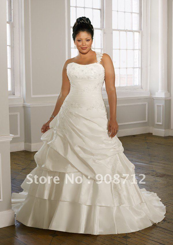 On sale radiant taffeta with lace ball gown plus size for Lace one shoulder wedding dress