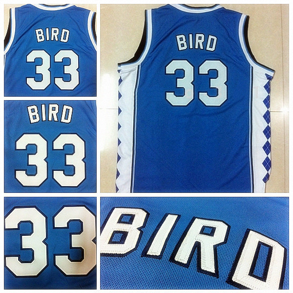 NCAA Indiana State Sycamores 33 Larry Bird Blue College Basketball Jersey, Embroidery logos, Size: S-XXL, Free Shipping(China (Mainland))