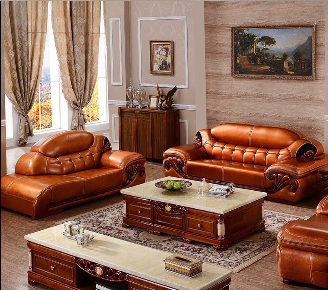 2015 new style genuine leather chesterfield sofa european style modern set living room sofas. Black Bedroom Furniture Sets. Home Design Ideas