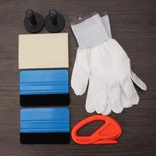 7pcs 3D Car Carbon Fiber Vinyl Film Sticker Gloves Wrapping Install Tool Kit Set(China (Mainland))