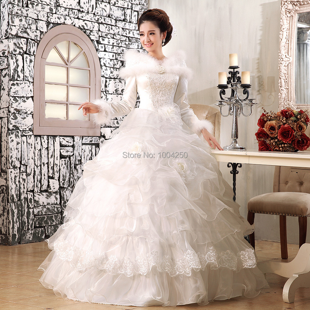 Aw013 High Quality 2015 Winter Wedding Dresses Cotton