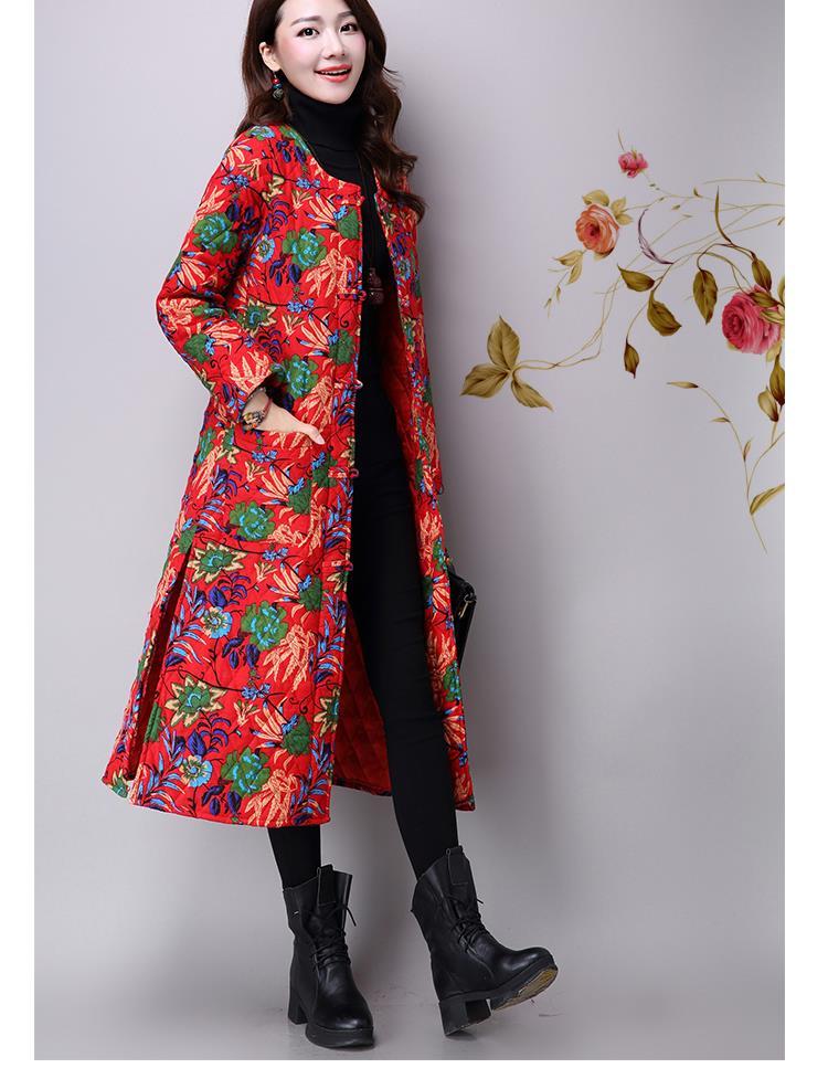 Скидки на Женщины Новая Мода Хлопок Льняной Ткани Пальто Оригинальный Цветочный Принт С Длинным Рукавом Однобортный Теплый Все Матч Свободные Пальто