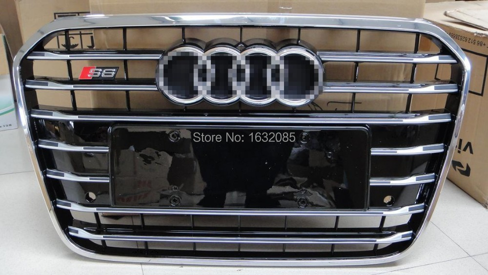 Front Grille Honeycomb Grill S6 Style Fit For A6 C7 Bumper Grill 2013 Black Painted Chrome Frame with Chrome Emblem(China (Mainland))