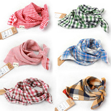 Baby Bandana Bibs cute The new bandage wild child baby bibs small square boys and girls double side yarn plaid scarf Babador