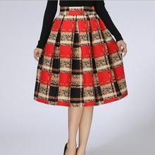 Vintage High Waist Pleated Midi Skirt Women Print bust Skirts D360